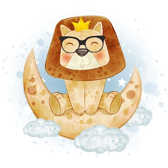 Dziecko Król Lew ładny W Okularach Na Akwareli Księżyca Premium Wektorów