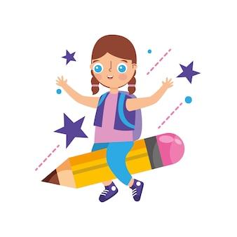Dziecko latające nad ołówkiem na białym tle nad białym tłem. ilustracja wektorowa