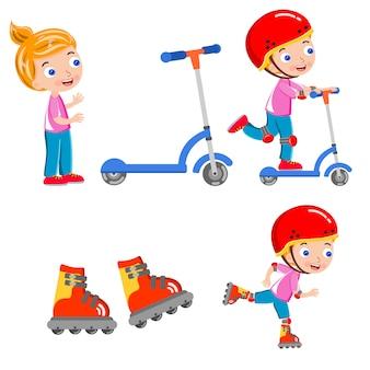 Dziecko łyżwiarstwo skuter kask szczęśliwy wektor