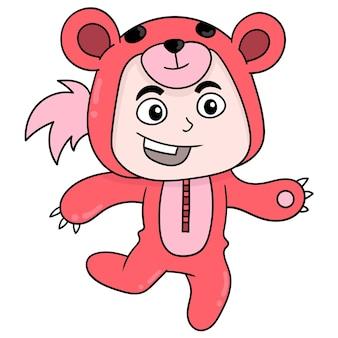 Dziecko ma na sobie kostium czerwonego niedźwiedzia, ilustracji wektorowych sztuki. doodle ikona obrazu kawaii.