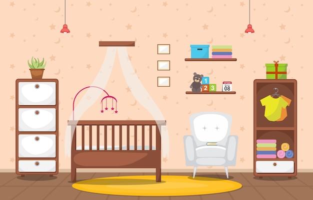 Dziecko maluch dzieci sypialnia wnętrze meble pokojowe