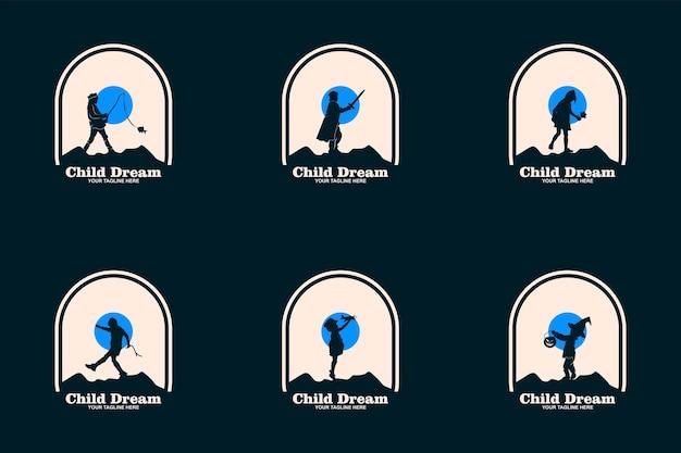 Dziecko marzenia logo projektuje koncepcja wektor, symbol logo edukacji dla dzieci, dzieci osiągając gwiazdę