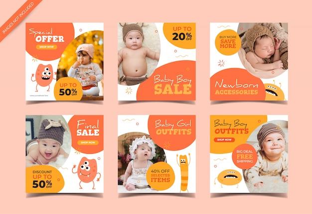 Dziecko moda sprzedaż kwadratowy baner dla mediów społecznościowych szablon postu