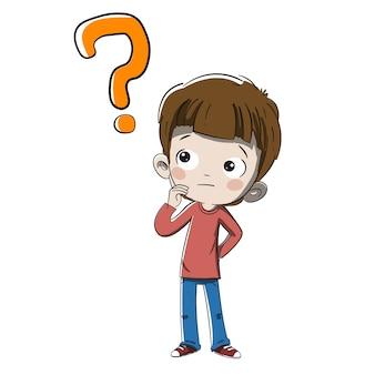 Dziecko myśli z pytaniem lub wątpieniem
