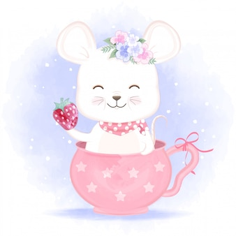 Dziecko mysz w filiżance ręka rysującej ilustraci