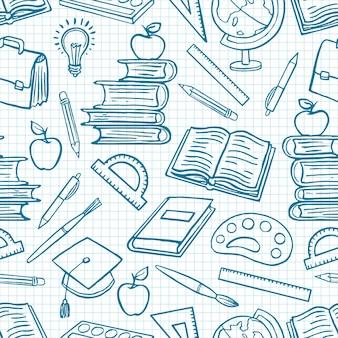 Dziecko niebieskie tło z przyborów szkolnych. globus, farby i pędzle, książki. ręcznie rysowana ilustracja