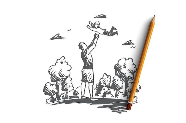 Dziecko, ojciec, rodzic, koncepcja zabawy. ręcznie rysowane tata bawi się z synem na zewnątrz szkic koncepcji.