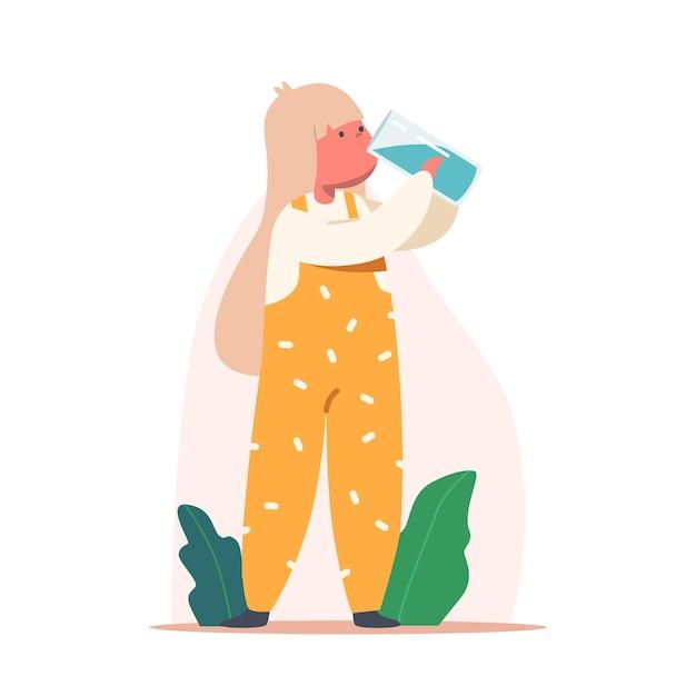 Dziecko pije czystą wodę. mały znak dziecka ze szkłem w rękach ciesząc się świeży napój aqua. zdrowy styl życia, letnie orzeźwienie, spragnione nawodnienie ciała dla dzieci. ilustracja wektorowa kreskówka ludzie