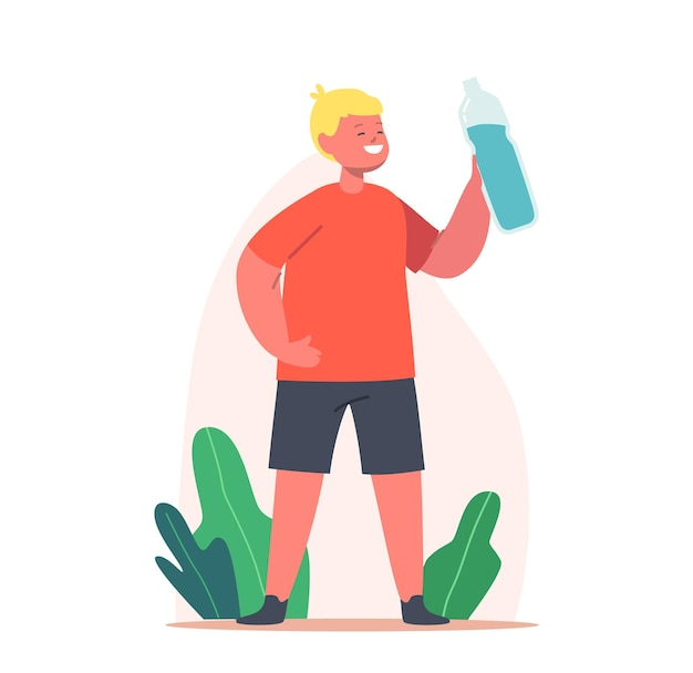 Dziecko pije czystą wodę. mały znak kaukaski chłopiec z butelką w ręku, ciesząc się świeżą wodą. napój dla dzieci, orzeźwienie, zdrowy tryb życia, pragnienie i nawodnienie organizmu. ilustracja kreskówka wektor