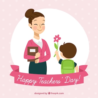 Dziecko prezentujące kwiat swojemu nauczycielowi
