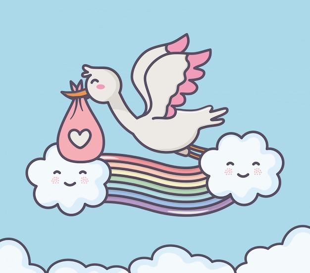 Dziecko prysznic bocian pieluszka różowa tęcza chmurnieje niebo