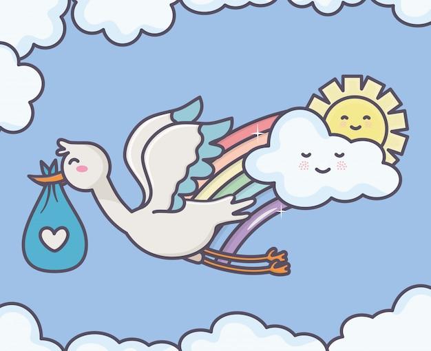 Dziecko prysznic bociana pieluszki błękita chmury słońca niebo