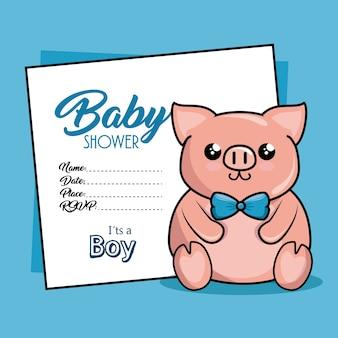 Dziecko prysznic karta z świnią