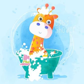 Dziecko prysznic śliczna dziecko żyrafa