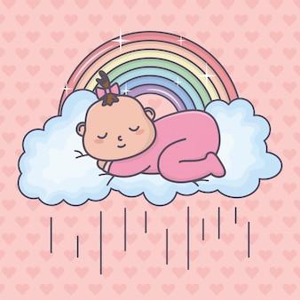 Dziecko prysznic śpi małej dziewczynki chmury tęczę