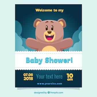 Dziecko prysznic szablon z szczęśliwym niedźwiedziem