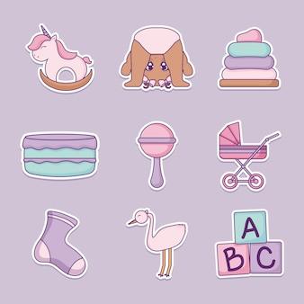 Dziecko prysznicem projekt wektor ilustratorzy ikony dziewczynek
