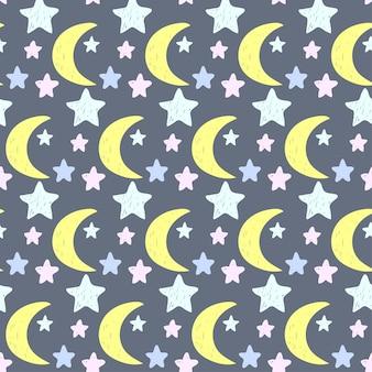 Dziecko przedszkole księżyc tkanina graficzny wzór tła