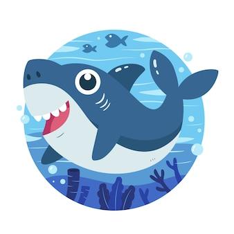 Dziecko rekin w koncepcji stylu cartoon