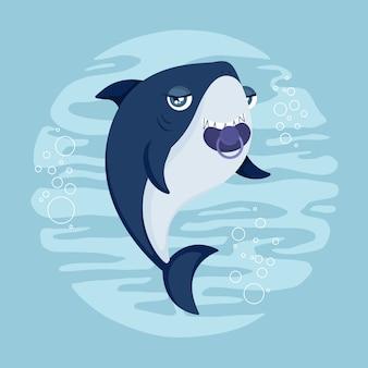 Dziecko rekin w stylu cartoon w płaskiej konstrukcji