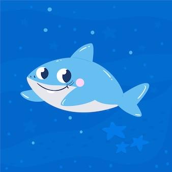 Dziecko rekin w stylu cartoon