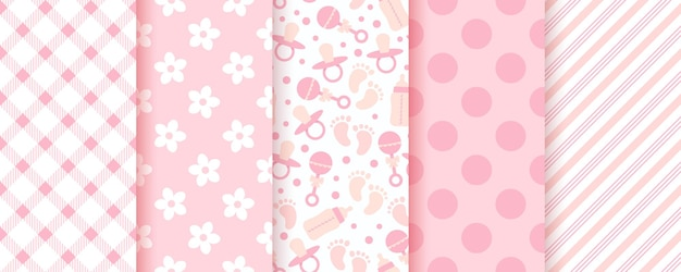 Dziecko różowe bezszwowe wzory. pastelowe tło. geometryczny nadruk dla dziewczynki. wektor.