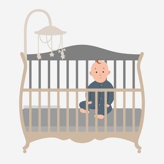Dziecko siedzi w łóżeczku