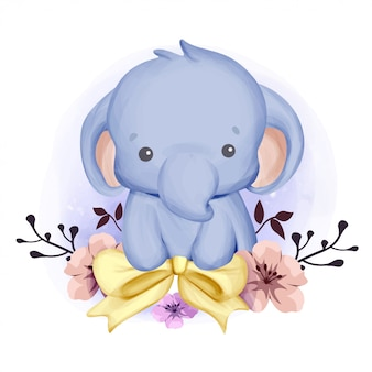 Dziecko słoń uśmiecha się i wstążki