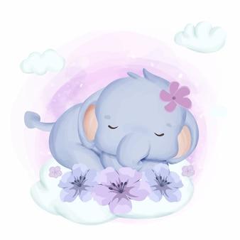 Dziecko słonia dosypianie w niebie