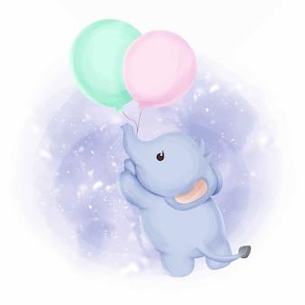 Dziecko słonia latać z balonami