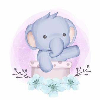 Dziecko słonia w koszu
