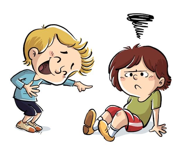 Dziecko śmieje się z innego dziecka