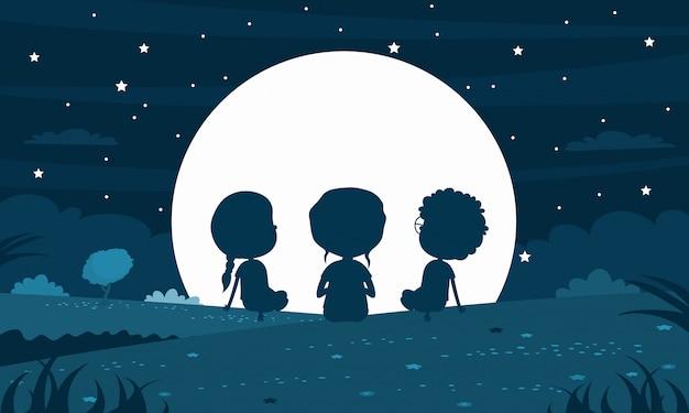 Dziecko sylwetka w księżycowej nocy