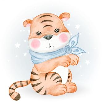 Dziecko tygrysa urocza akwareli ilustracja