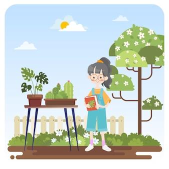 Dziecko uczące się z roślinami