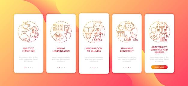 Dziecko uczy się i graj w czerwony ekran strony aplikacji mobilnej z izolowanymi koncepcjami