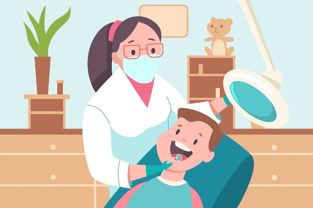 Dziecko w gabinecie dentystycznym. lekarz dentysta i pacjent. wektorowej kreskówki płaska medyczna ilustracja.
