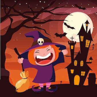 Dziecko w kostiumach na halloween