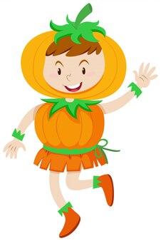 Dziecko w stroju z dyni na halloween
