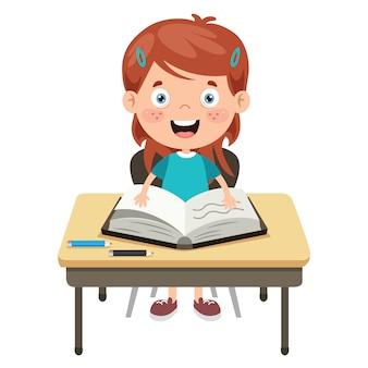 Dziecko w wieku szkolnym szczęśliwy kreskówka