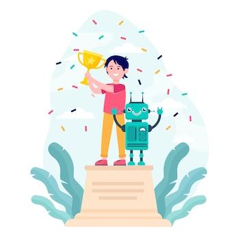 Dziecko w wieku szkolnym wygrywające konkurs robotyki