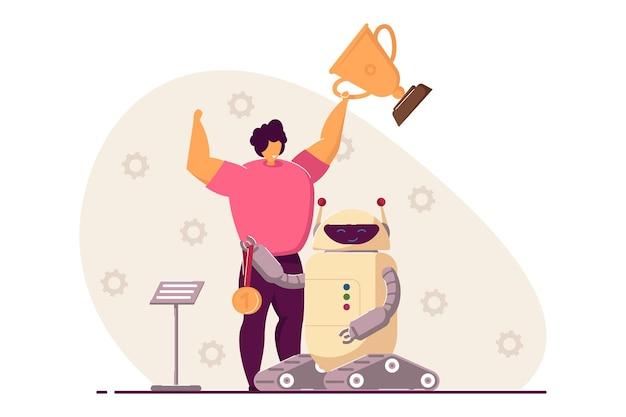 Dziecko wygrywające konkurs programistyczny z robotem elektronicznym
