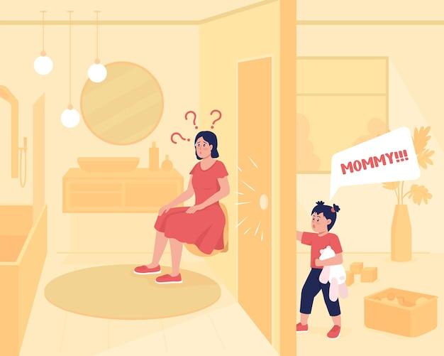 Dziecko wymaga uwagi płaski kolor ilustracji wektorowych. matka w toalecie, podczas gdy dziecko krzyczy. domowe zmagania rodzica. rodzinne postacie z kreskówek 2d z wnętrzem domu na tle