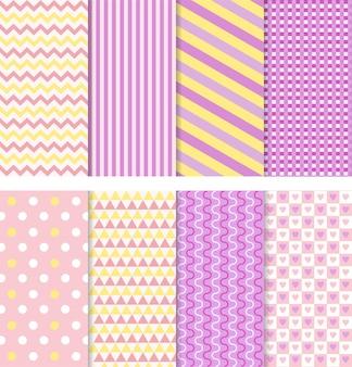 Dziecko wzór bezszwowe tło prysznicowe dla dzieci zestaw różowe pastelowe wzory na zaproszenie lub okładkę