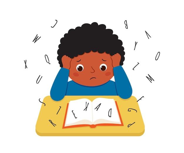 Dziecko z dysleksją ma trudności z czytaniem książki. zestresowany mały chłopiec odrabiania ciężkiej pracy domowej na biurku. pojęcie zaburzenia dysleksji. ilustracja wektorowa na białym tle.