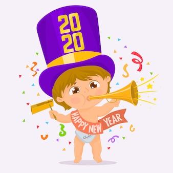 Dziecko z girlandą nowego roku pod konfetti