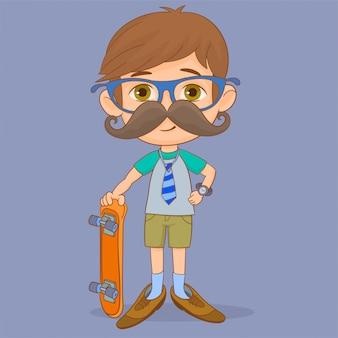 Dziecko z krawatem i fałszywymi wąsami