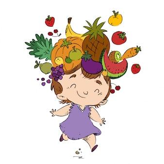 Dziecko z owocami na głowie