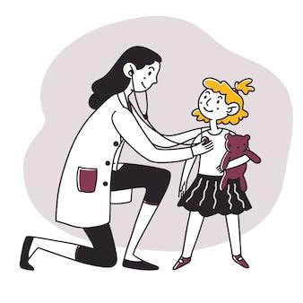 Dziecko z zabawką wizyty u lekarza