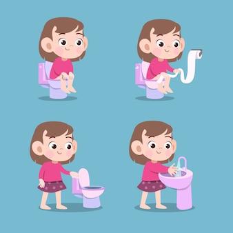Dziecko za pomocą toalety rufowanie ilustracja wektorowa na białym tle